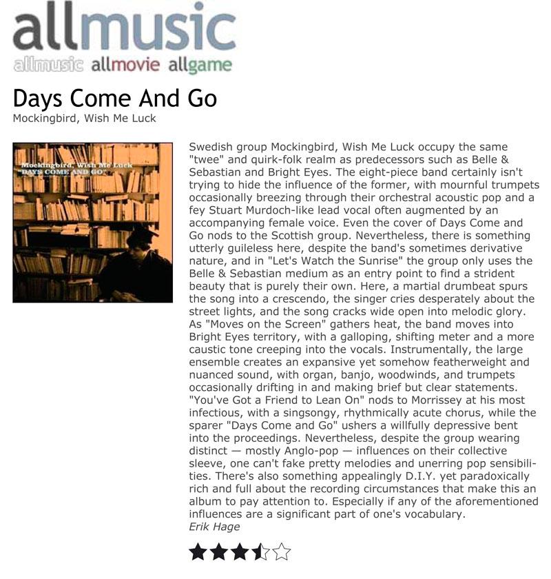 AllMusic Album Reviews Mockingbird Wish Me Luck Days Come And Go