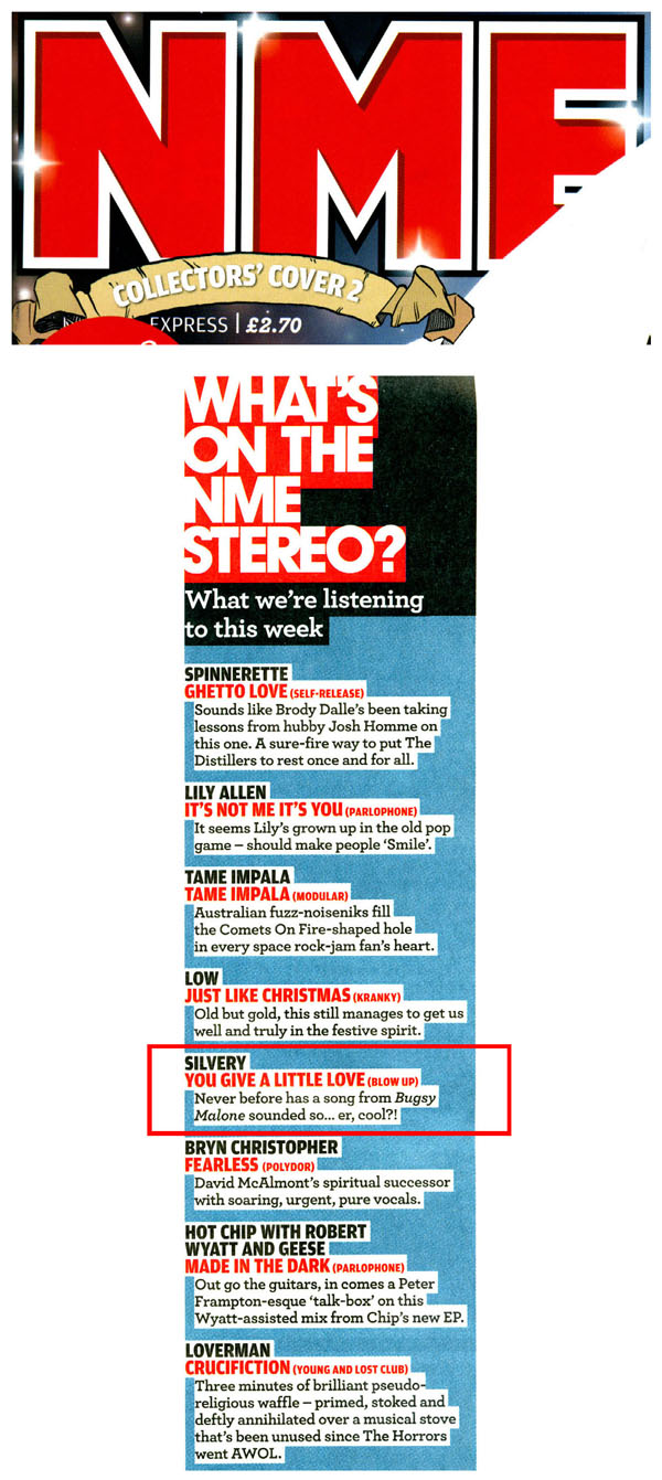 What's On The NME Stereo Silvery You Give A Little Love