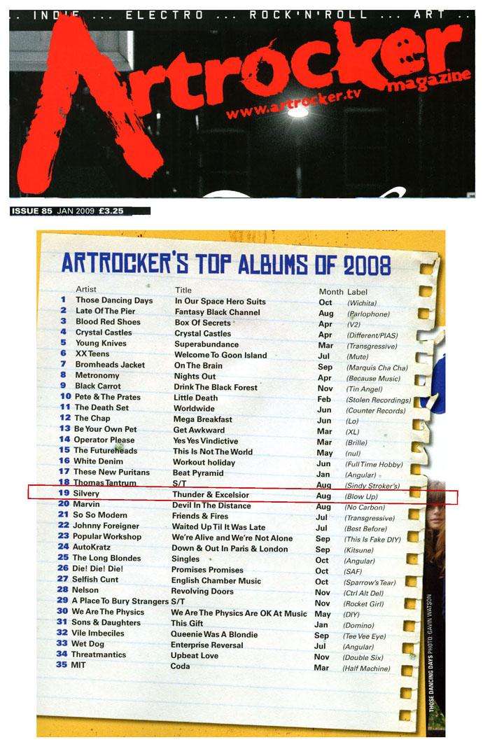Artrocker Top Albums of 2008 Silvery Thunderer & Excelsior
