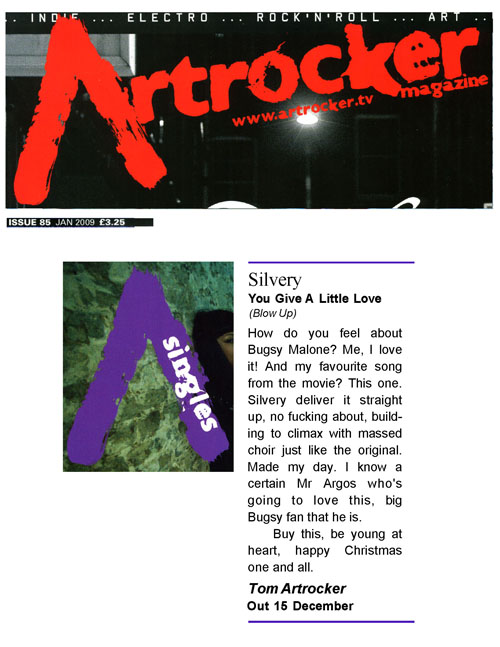 Artrocker Single Review Silvery You Give A Little Love