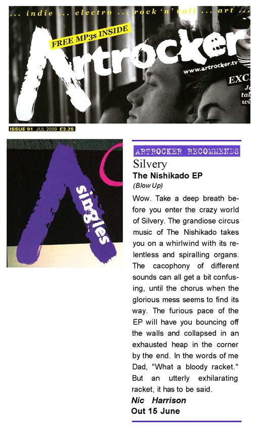 Artrocker Recommends Single Review Silvery Nishikado EP
