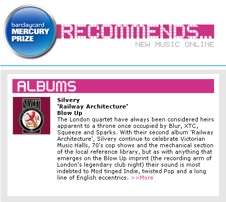 Mercury Prize Recommends Railway Architecture  Silvery