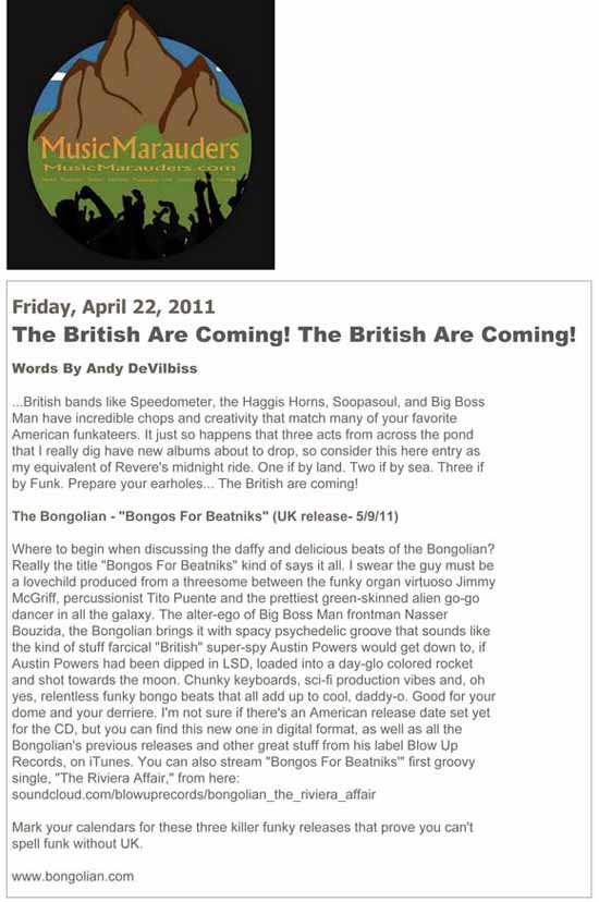 Music Marauders The British Are Coming The Bongolian