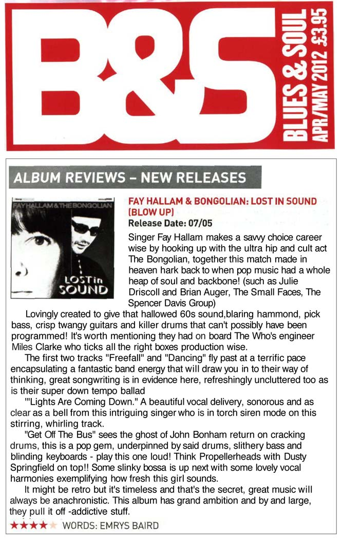 Blues And Soul Fay Hallam Bongolian Lost In Sound Review