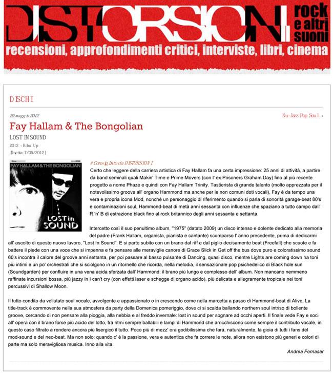 Distorsioni Lost In Sound Review Fay Hallam The Bongolian