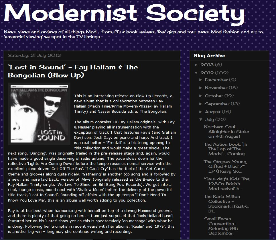 Lost in Sound Fay Hallam & The Bongolian Review Modernist Society