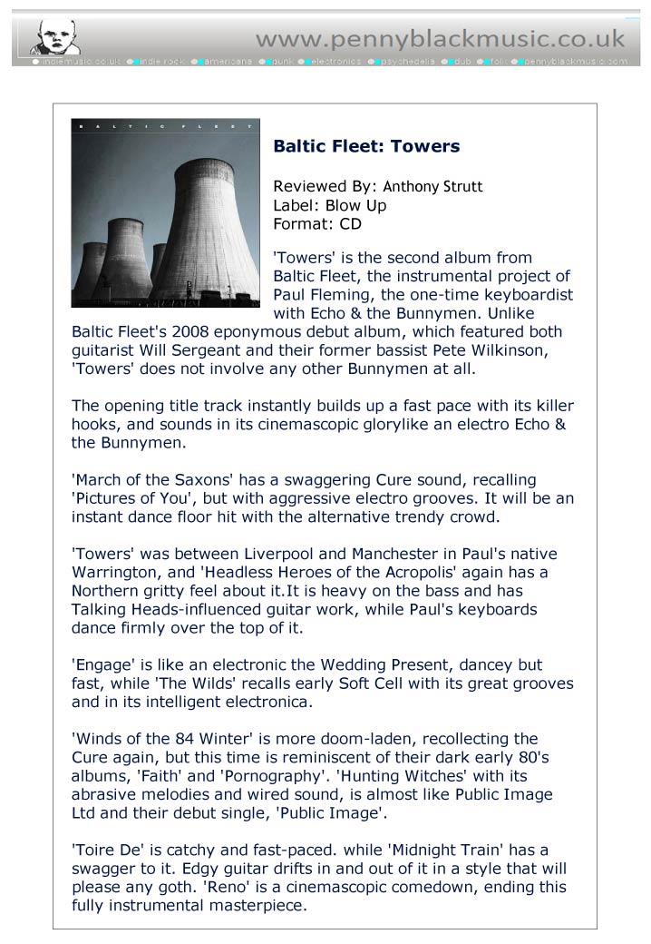 Penny Black Music Reviews Baltic Fleet Towers