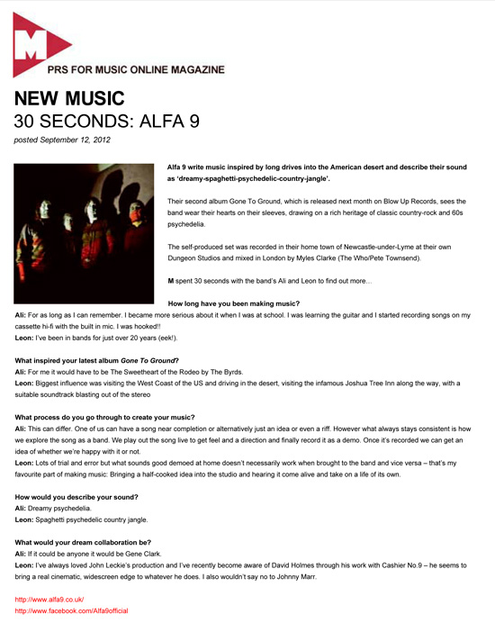 PRS for Music Magazine 30 Seconds Alfa 9