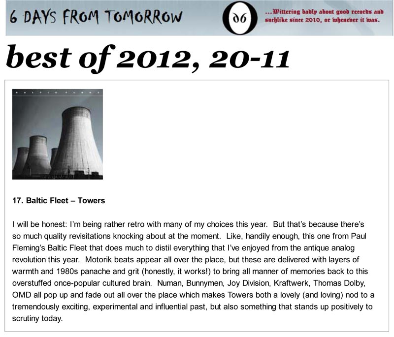 6 Days From Tomorrow Best Of 2012 Baltic Fleet Towers