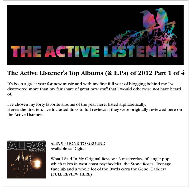 Active Listener Top Albums 2012 Gone To Ground Alfa 9