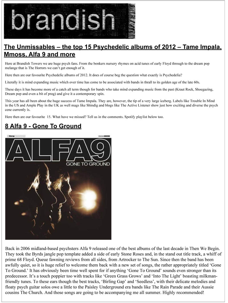 Brandish TV Top Psychedelic Albums 2012 Gone To Ground Alfa 9