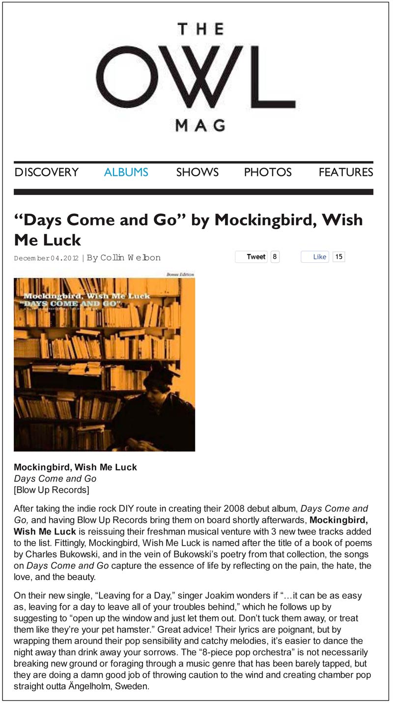 Mockingbird Wish Me Luck Days Come And Go Owl Magazine Review