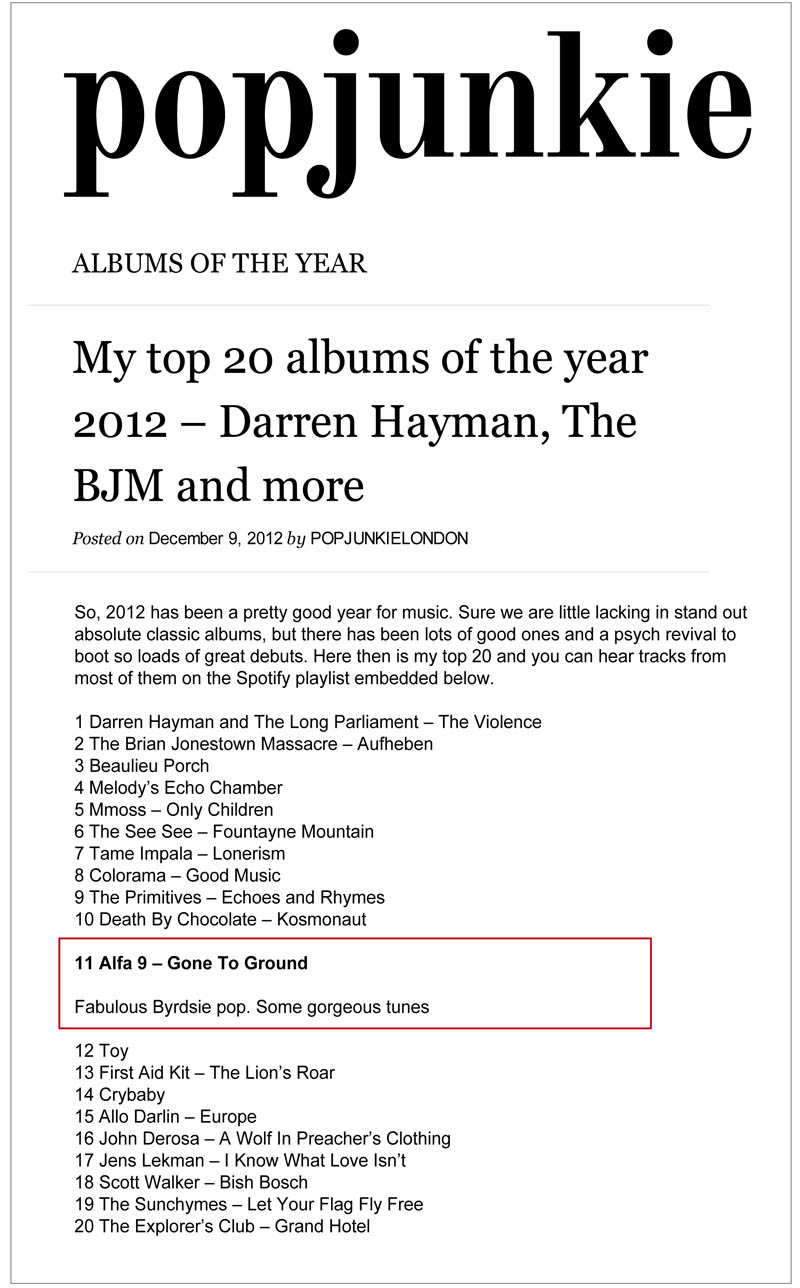 Pop Junkie Albums Of The Year Alfa 9