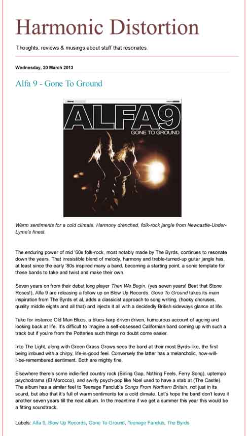 Alfa 9 Gone To Ground Harmonic Distortion Album Review