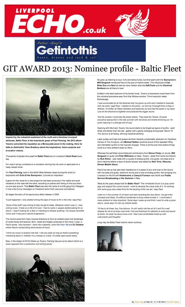 GIT Awards 2013 Nominee Profile Baltic Fleet Liverpool Echo