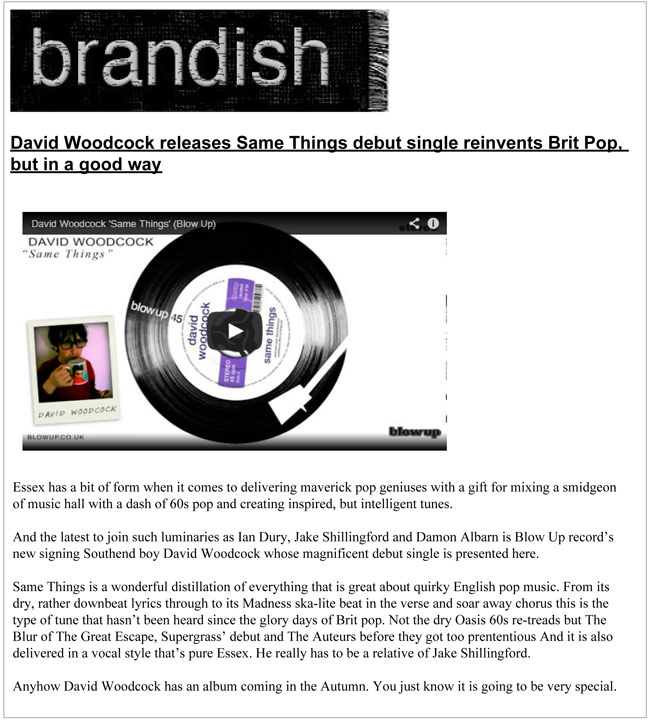 Brandish TV David Woodcock Same Things debut reinvents Brit Pop but in a good way