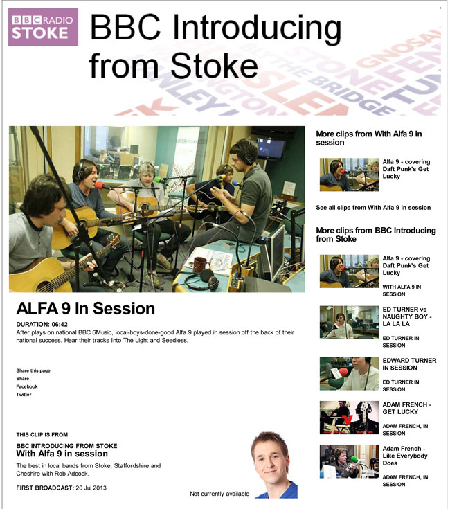 Alfa 9 BBC Stoke In Session Gone To Ground