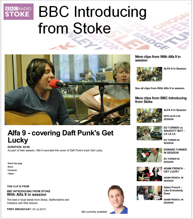 Alfa 9 cover Daft Punk Get Lucky BBC Stoke In Session