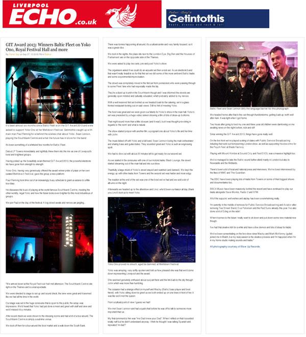 GIT Award 2013 Winners Baltic Fleet on Yoko Ono, Royal Festival Hall Liverpool Echo