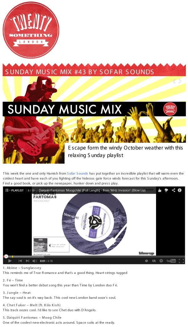 Twenty Something London Sunday Music Mix by Sofar Sounds Daiquiri Fantomas Moogchile