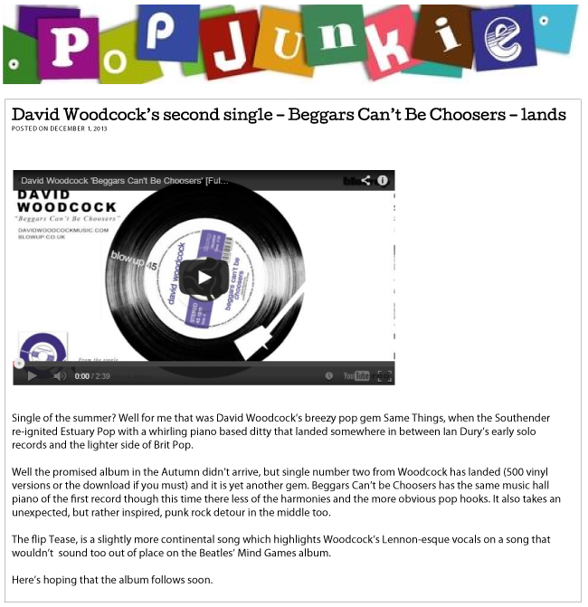 PopJunkie David Woodcock's second single – Beggars Can't Be Choosers – lands