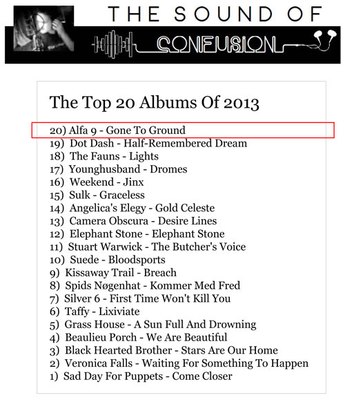 Alfa 9 Gone To Ground Sound Of Confusion Albums of 2013