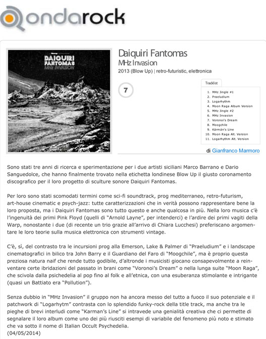 Ondarock Album Reviews: Daiquiri Fantomas 'MHz Invasion'