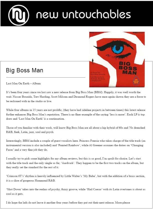 New Untouchables Reviews Last Man On Earth Album Big Boss Man
