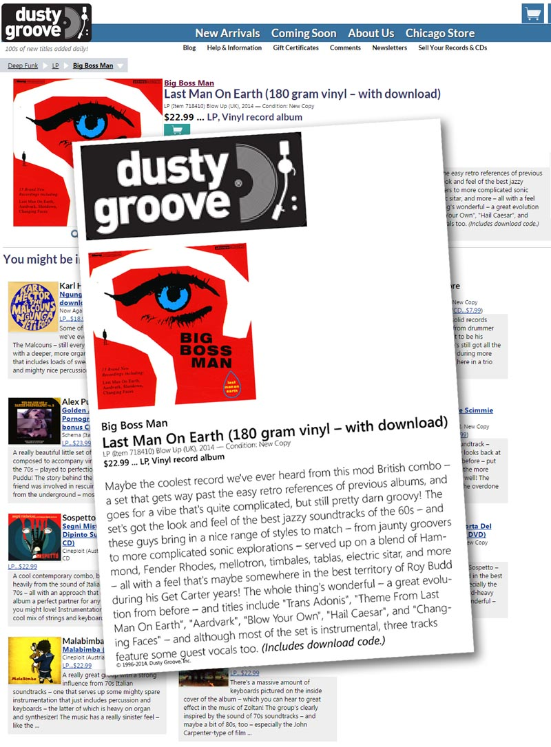 Dusty Groove Last Man On Earth Album Big Boss Man