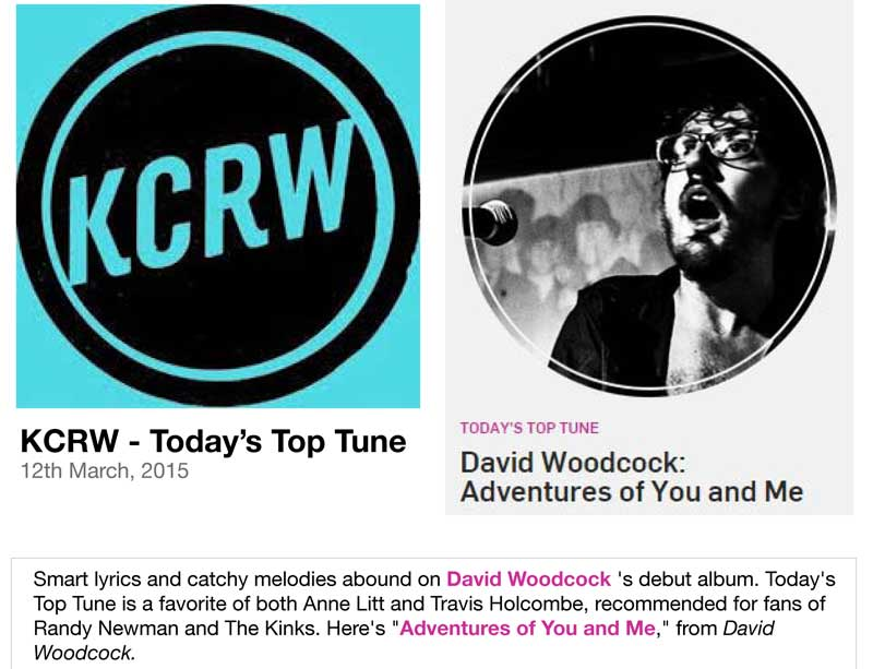 KCRW: Today's Top Tune - David Woodcock Adventures Of You And Me