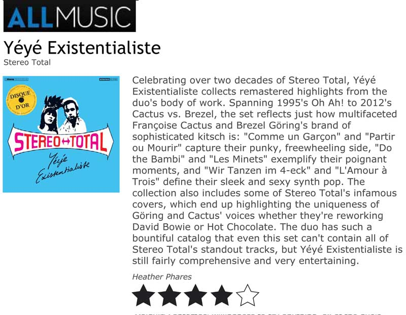 AllMusic Album Reviews Stereo Total Yéyé Existentialiste