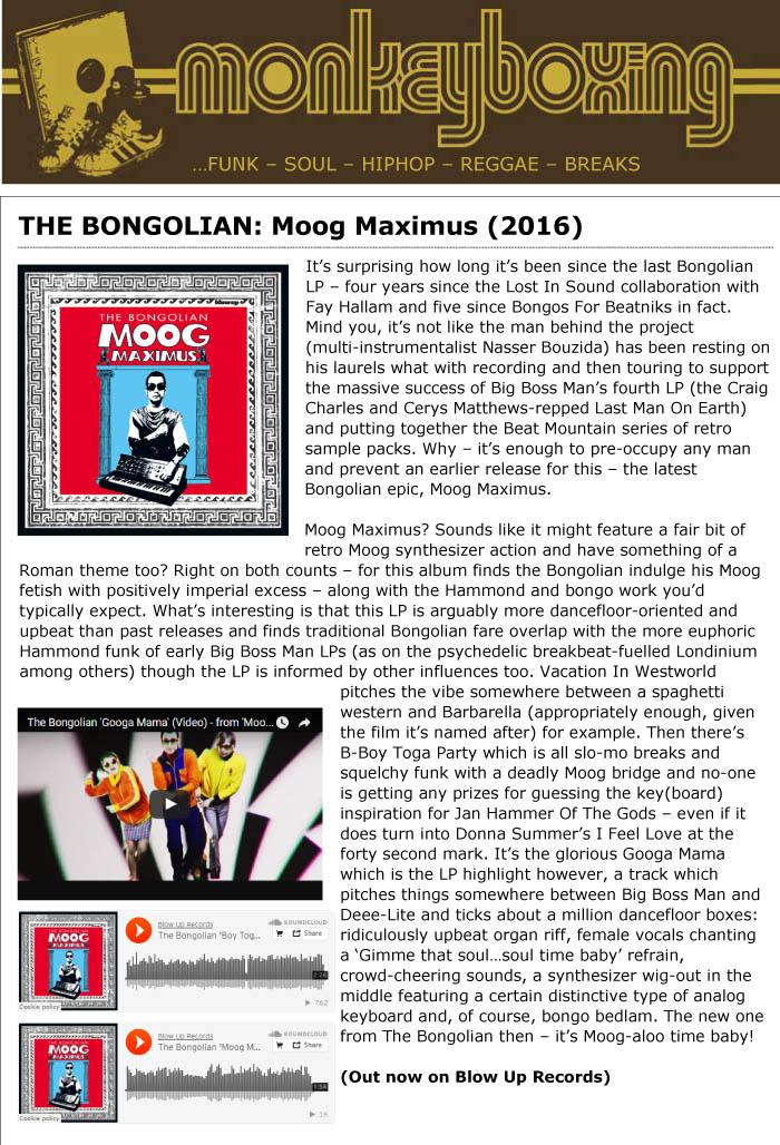 Monkey Boxing Album Reviews: The Bongolian 'Moog Maximus'