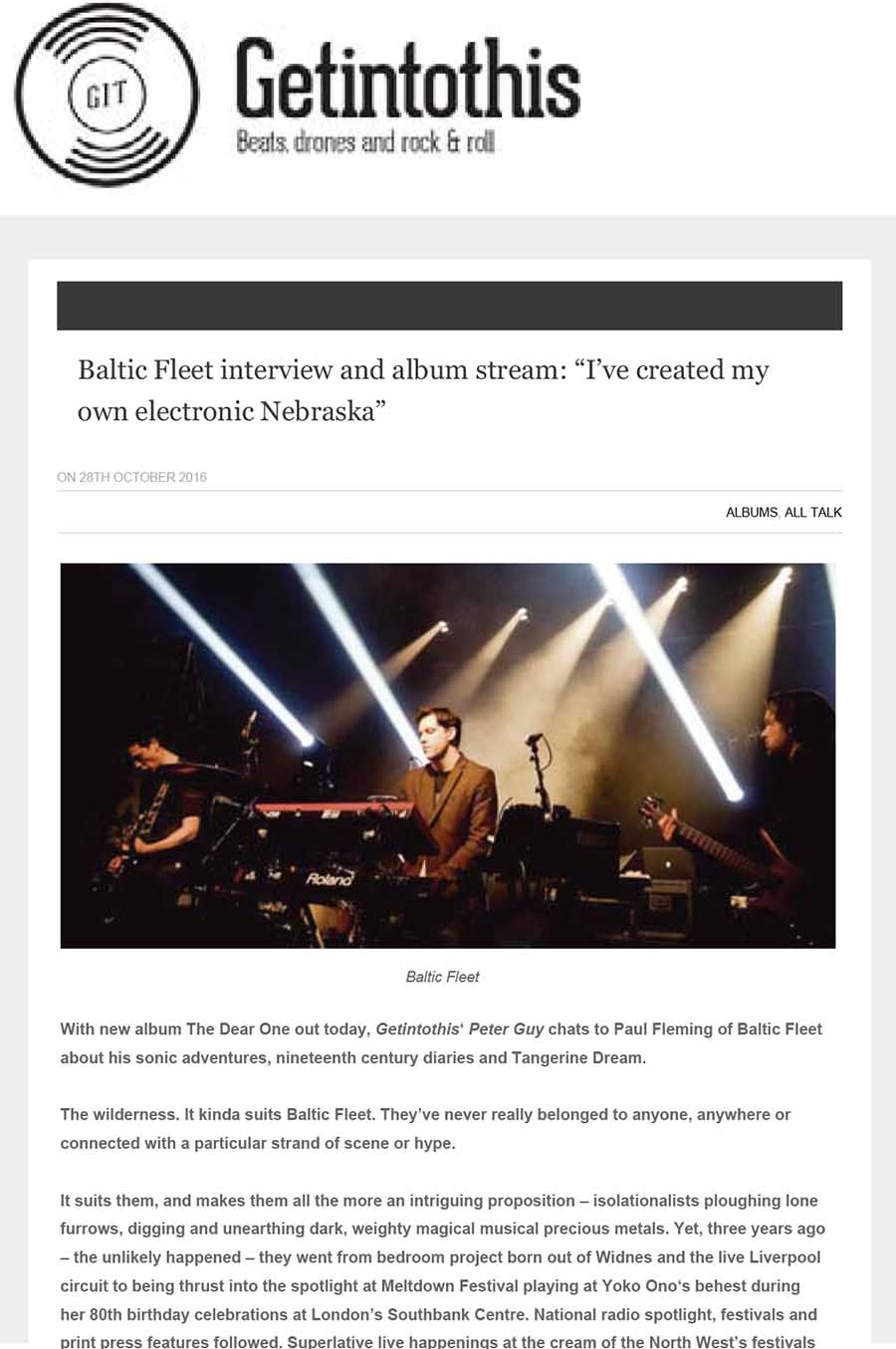 Liverpool Echo Get Into This:Baltic Fleet interview and album stream