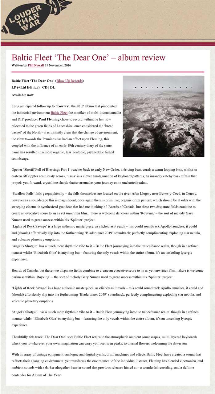 Louder Than War Album Reviews: Baltic Fleet 'The Dear One'