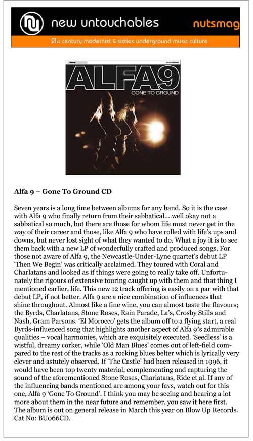 Alfa 9 Gone To Ground New Untouchables Album Review